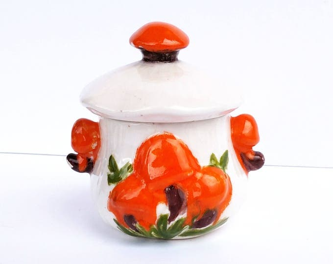 Vintage 1970's Ceramic Jar with Orange Mushrooms