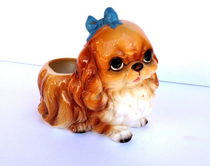 Vintage Napco Puppy Dog Planter with Blue Bow - Mint Condition