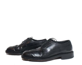 10 C (Narrow) | Vintage Men's Nettleton Black Pebble Grain Wingtip Oxfords Dress Shoes