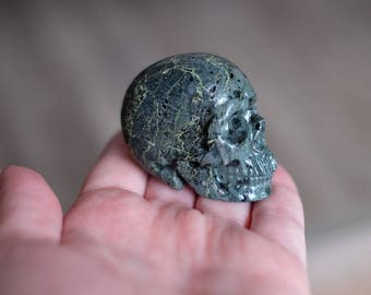 Camouflage Jasper Stone Carved Crystal Skull