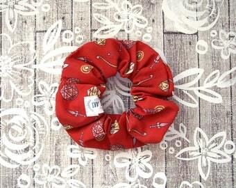 Tabletop RPG Scrunchie - Red Geek Scrunchy / D20 Dice D&D Pattern / Illustrated Fabric Elastic / Large Cotton Srunchie / Geek Girl Gift