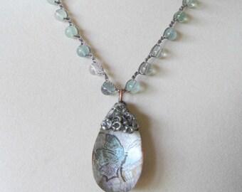 Artisan Crystal Teardrop Pendant Necklace, Gemstone, Vintage Bohemian Crochet Jewelry
