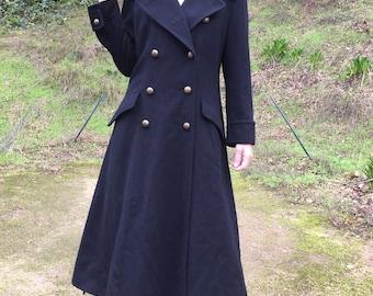 Vtg HARRODS Knightsbridge Cashmere Angora Wool Trench Coat Military Sz  black