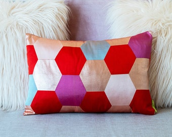 Geometric Pillow, Red and Pink Metallic Pillow, Purple Hexagon Pillow, Designer Pillow, Antique Vintage SILK Bohemian Decor Gift For Her ECO