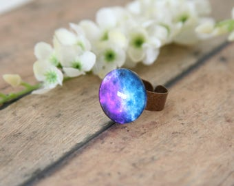 Galaxy Ring Stars Celestial Outer Space - made with a beautiful cabochon