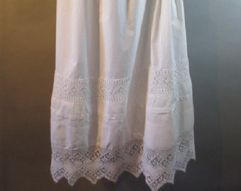 "Victorian Slip, Crocheted Lace // White Cotton, Elastic Waist...28-34"" waist"