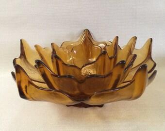 Viking Lotus Blossom Amber Spiked 5 Petal Bowl  Complete Set of 3 Nesting Bowls