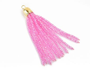 """Crystal Bead Tassel Charm Pendant, PINK AB crystals with GOLD cap, about 3"""" long, chg0614"""