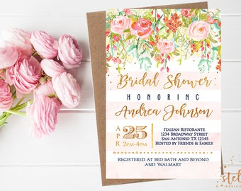 Bridal Shower Invitation Gold, Blush, Pink Bridal Shower, watercolor pink flowers,pink peonies,blush stripes, glitter confetti, blush, 5426