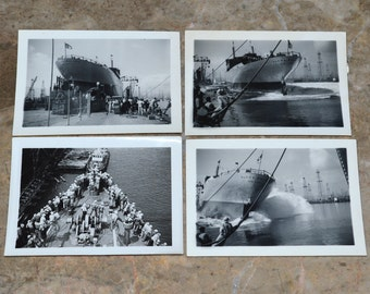 RARE WWII Historical Photographs - Event Featured in Life Magazine - Launching of the USS Alcoa Polaris - Miltary Troopship & Cargo Ship