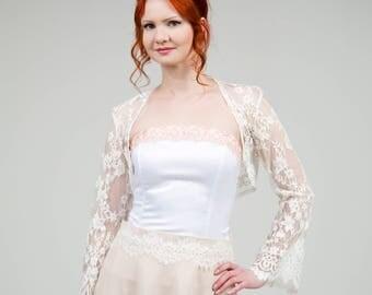 Ivory lace bolero, Ivory wedding shrug, lace bridal coverup, Bridesmaids bolero, Ivory bolero, bridesmaids bolero, lace longsleeve bolero