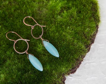 Aqua Amazonite Earrings, Copper, Aqua, Amazonite Earrings, Dagger Earrings, Blue Earrings, Blue Copper Earrings, Circle Earrings, Natural