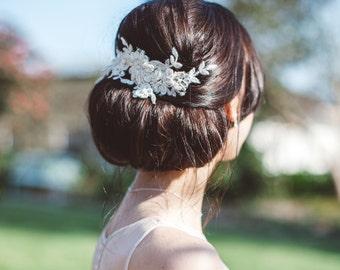 Champagne lace hair vine