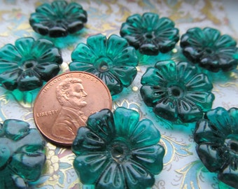 Vintage Teal Green Glass Flower Bead