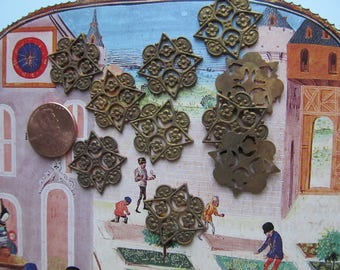 6 Antique  Ginger Brass Findings