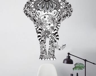 Elephant Wall Decal - Black, White, and Greay Floral Pattern - Easy Peel and Stick Fabric Elephant Wall Sticker