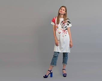 80s Graphic Shirt Dress / Tee Dress / T-Shirt Dress / 80s Dress Δ fits sizes: XS/S/M