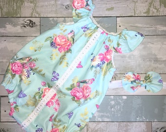 Ruffled Neck Romper, Baby Girl Sunsuit, Boho, Lace Playsuit, Complete Baby /Toddler Set, Knot Bow Headband, Summer Playsuit, Floral Romper
