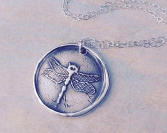 Dragonfly wax seal pendant jewelry made from fine silver, custom made to order for Valentine's day