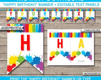 Art Party Banner - Happy Birthday Banner - Custom Banner - Art Party Decorations - Bunting - INSTANT DOWNLOAD with EDITABLE text