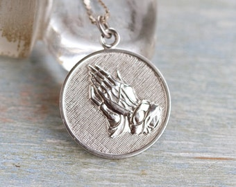 Serenity Prayer Necklace - Sterling Silver Medallion on Chain