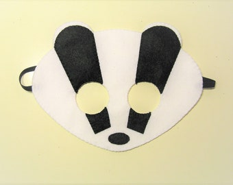 Badger felt mask white black handmade woodland animal for kids adults - soft dress up play accessory photo props Theatre roleplay
