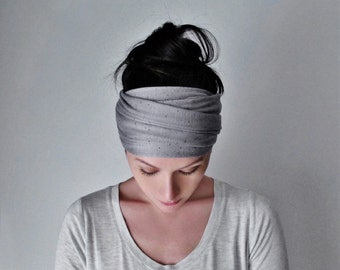 LUNA Yoga Headband - Silver Grey Jersey Head Scarf - Extra Wide Hair Wrap - Bohemian Headband - Hair Accessories - Boho Hair Accessories