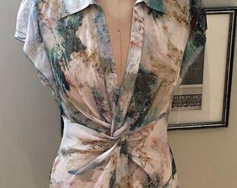 Diane von Furstenberg Silk Top in Creme Teal and Rust Print