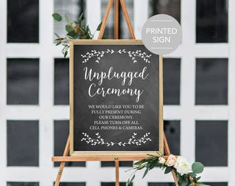 Unplugged Ceremony Wedding Sign, Unplugged Wedding Sign, Unplugged Wedding Ceremony Sign, Please Turn Off All Cell Phones and Cameras