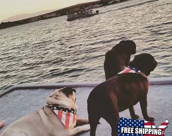 Dog Bandana, Large American Flag Slip On Dog Bandana Over the Collar, Labor Day, July 4th, Memorial Day, Veterans Day