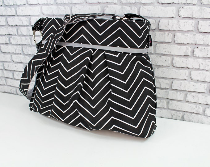 Diaper Bag - Stella Large - Black Skinny Chevron wtih Grey -  READY to SHIP  Nappy Bag Stroller Attachment