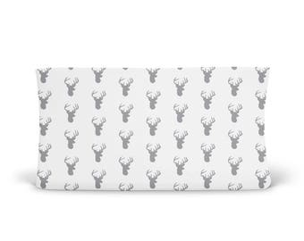 Changing Pad Cover Grey Deer- Grey Changing Pad- Deer Head Changing Pad- Changing Pad Cover- Minky Changing Pad- Organic Changing Pad