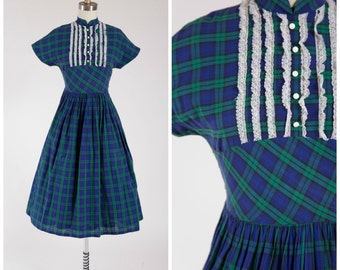 Vintage 1950s Dress • Plaid Persuasion • Blue Green Plaid Cotton 50s Day Dress Size Small