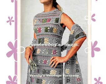 Instant Download PDF Crochet Pattern to make a Retro Mod Sleeveless Shift Daisy Motif Summer Dress & Scarf Stole 3 Sizes up to 40 inch Bust