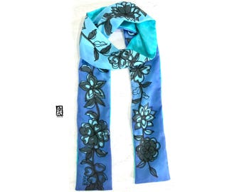 Skinny Scarf, Silk Summer Scarf, Blue Spring Scarf, Silk Scarf Handpainted, Reversible Scarf, Ombre Black Geisha Floral, Takuyo, 4x70 inches