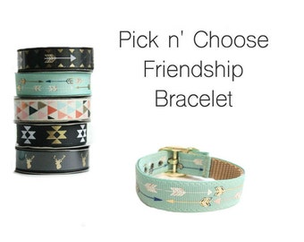 Friendship Bracelet in your choice of print, Bar Buckle Bracelet