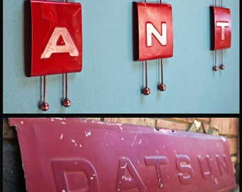 Original Metal Wall Sculpture 1970's Datsun Tailgate Letter A. Atomic.