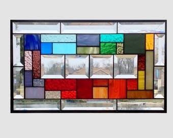 Beveled stained glass panel window hanging geometric rainbow stained glass window panel abstract suncatcher 0225 19 1/2 x 11 1/2