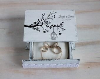 Wedding ring box, White wedding box, Personalized ring bearer box, Love birds ring box, Custom ring box, Love tree box, Wedding ring holder