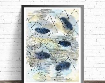 Water print. Nature Watercolor Print. Mountain Art print. Mountain watercolor. Watercolor Nature prints. Abstract modern art