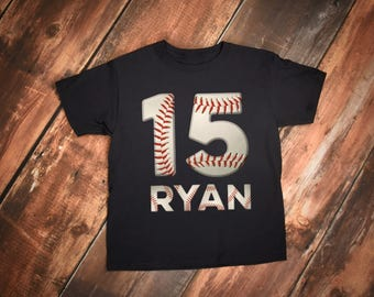 Personalized Baseball Shirt, Youth or Bodysuit With Name and Jersey Number