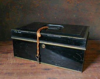 Black cash box and key, enamel document box, black tin, metal storage box, black toleware box