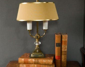 Vintage brass lamp, double lamp, brass table lamp, brass accent lamp