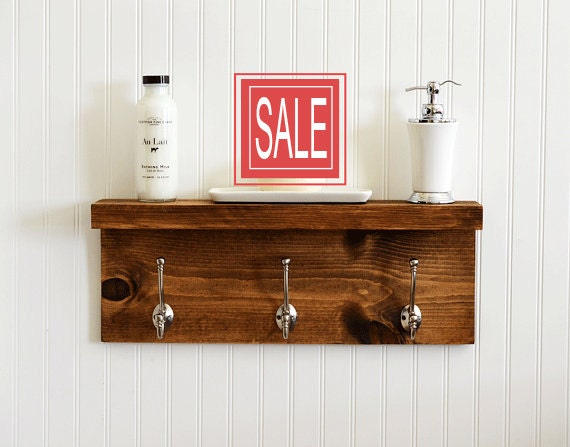 Bathroom Shelf With Metal Hooks Towel Bar By Rchristopherdesigns