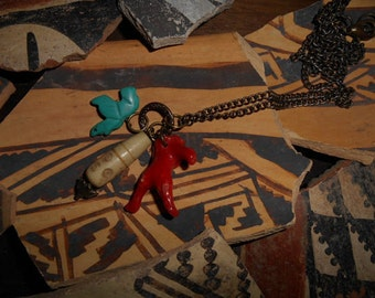 Zuni Native Turquoise Fetish Mediterranean Coral Bone Treasure Relic Necklace