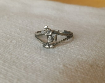 Mickey Mouse adjustable sterling silver ring Vintage Walt Disney Productions *eb