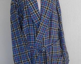 Vintage Robe Flannel Blue Plaid  L L Bean Large