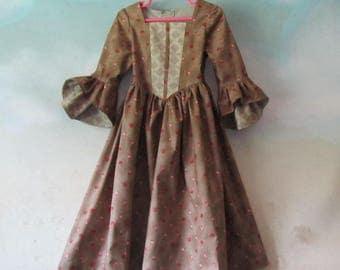 Girl's Renaissance Woodland Costume Dress: Renaissance Festival, OctoberFest, 19th Century - All Cotton Fabric, Size 3, Ready To Ship Now