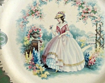 Retro Tin Plate, Baret Ware, Made in England, Victorian Women in Garden, Arbour Pattern, Floral Design,Green with Silver Trim, Wall Hanging
