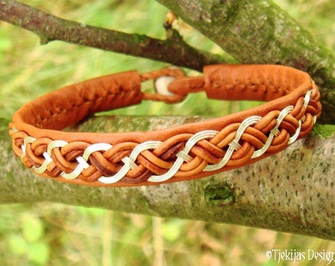 DRAUPNIR Viking Bracelet   Silver and Cognac Leather Cuff in Swedish Sami Style   Custom Handmade to Your Wishes